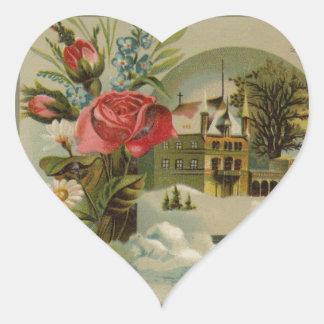 Sticker Cœur Cottage avec des roses