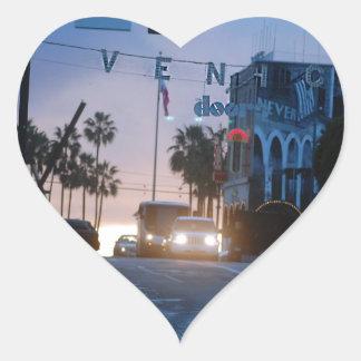 Sticker Cœur coucher du soleil de Venise