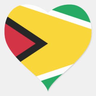 Sticker Cœur Coût bas ! Drapeau de la Guyane
