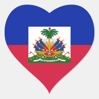 Sticker Cœur Coût bas ! Drapeau du Haïti