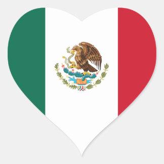 Sticker Cœur Coût bas ! Drapeau du Mexique