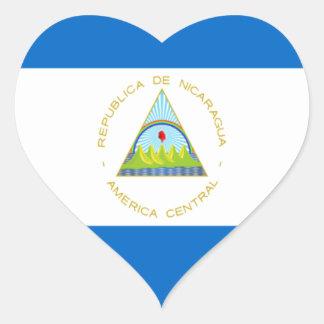 Sticker Cœur Coût bas ! Drapeau du Nicaragua