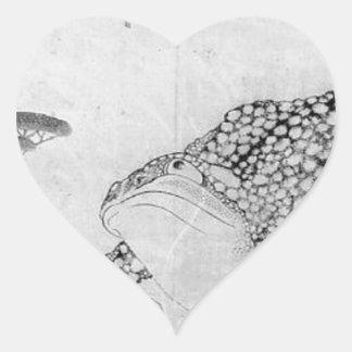 Sticker Cœur Crapaud et fleurs - Japonais (période d'Edo)