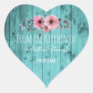 Sticker Cœur De la cuisine du bois rustique turquoise nommé de