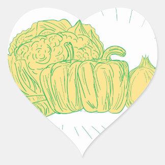 Sticker Cœur Dessin d'oignon de poivron de Brocolli