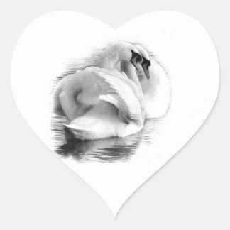 Sticker Cœur Deux cygnes blancs