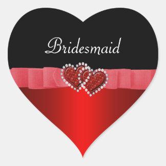 Sticker Cœur Diamant rouge et noir fermant à clef épouser de