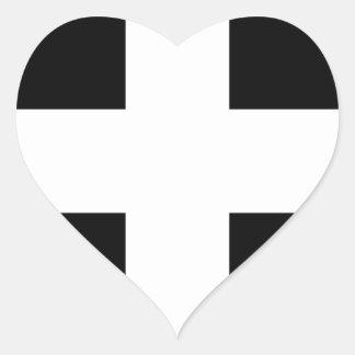 Sticker Cœur Drapeau des Cornouailles - le drapeau de Piran de