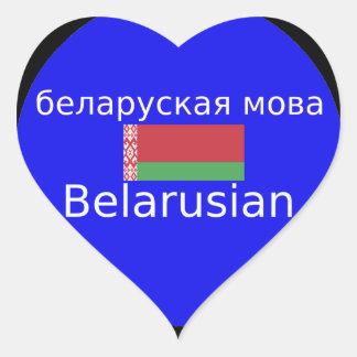 Sticker Cœur Drapeau du Belarus et conception de langue
