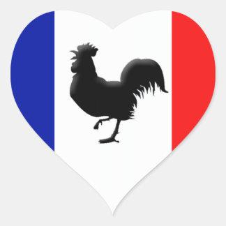 Sticker Cœur Drapeaux France love coq
