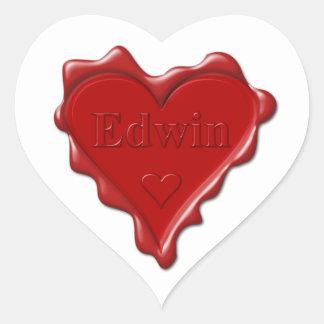 Sticker Cœur Edwin. Joint rouge de cire de coeur avec Edwin