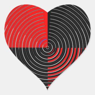 Sticker Cœur Énergie rouge Chakra - filets noirs de l'argent n
