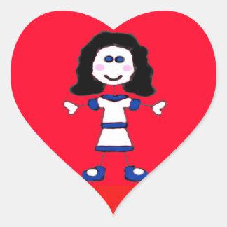 Sticker Cœur Famille moyenne de bâton de fille