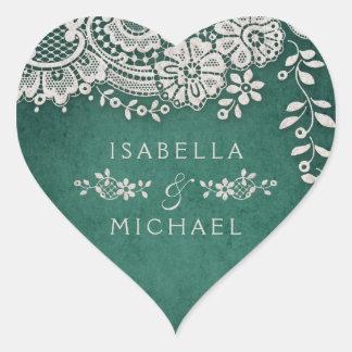 Sticker Cœur Faveur rustique de mariage de dentelle vintage