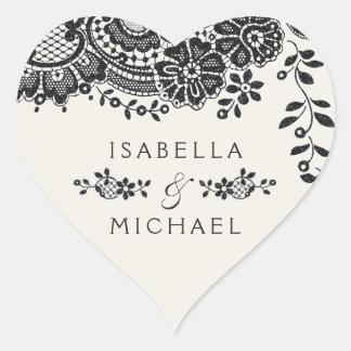 Sticker Cœur Faveur vintage élégante noire de mariage de