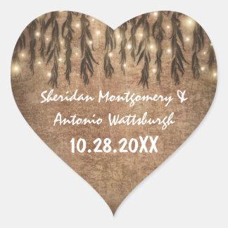 Sticker Cœur Faveur vintage pleurante de mariage de saule