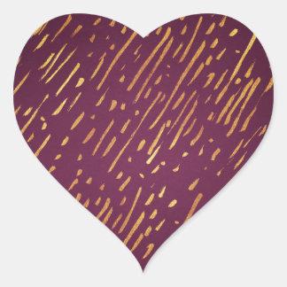 Sticker Cœur Filets de magenta et de feuille d'or de Faux