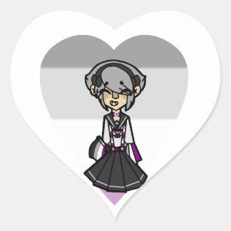 Sticker Cœur Fille magique de fierté - asexuelle