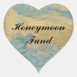 Sticker Cœur Fonds de cuivre de lune de miel de turquoise