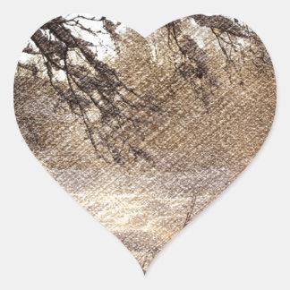 Sticker Cœur Forêt primitive d'hiver de région boisée de pin