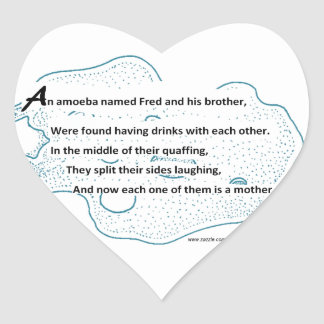 Sticker Cœur Fred l'amibe - un poème de la Science de