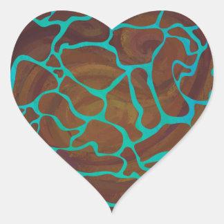 Sticker Cœur Girafe Brown et copie turquoise