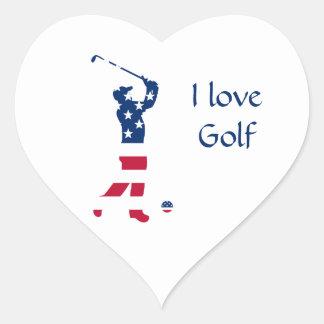 Sticker Cœur Golfeur de drapeau américain de golf des