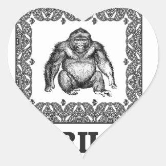 Sticker Cœur gorille enfermé dans une boîte