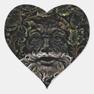 Sticker Cœur greenman primitif d'un dieu de forêt de feuillage
