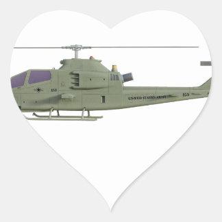 Sticker Cœur Hélicoptère d'Apache dans le profil de vue de côté