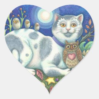 Sticker Cœur Hiboux et la feuille d'AUTOCOLLANTS de CAT d'art
