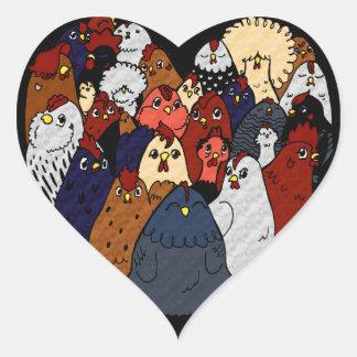 Sticker Cœur J'aime des poulets