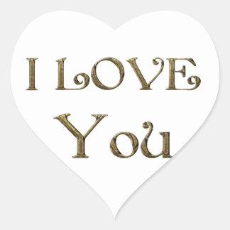 Sticker Cœur Je t'aime typographie d'or des textes élégante