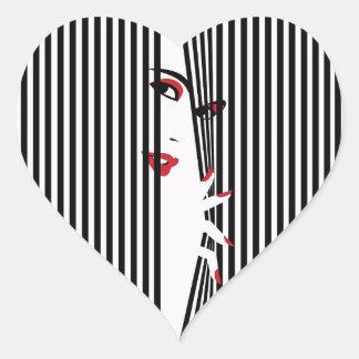 Sticker Cœur Jeter un coup d'oeil l'autocollant (blanc) de