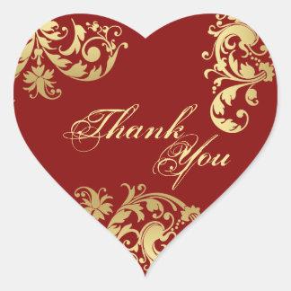Sticker Cœur Joint de Merci - rouge et mariage floral d'or