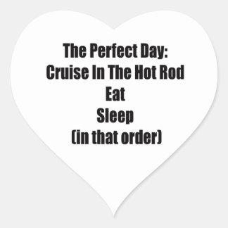 Sticker Cœur La croisière de jour parfait dans le hot rod