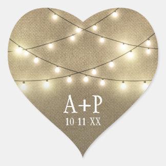 Sticker Cœur La ficelle allume des faveurs rustiques de mariage