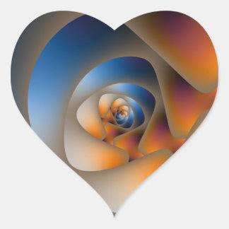 Sticker Cœur Labyrinthe en spirale dans l'autocollant bleu et