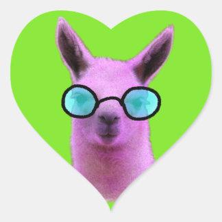 Sticker Cœur Lama rose frais !
