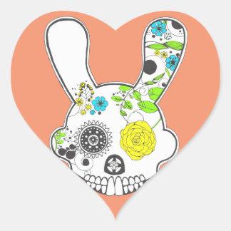 Sticker Cœur Lapin de crâne de sucre
