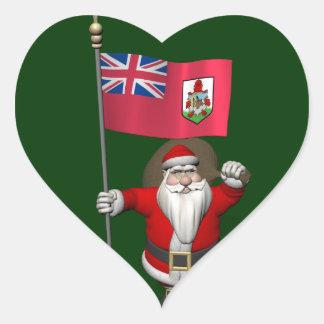 Sticker Cœur Le père noël avec le drapeau des Bermudes