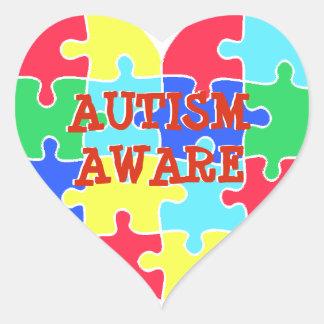 Sticker Cœur Le puzzle averti de coeur d'autisme rapièce