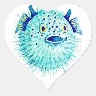 Sticker Cœur Les Pufferfish de Neptune