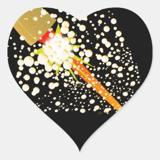 Sticker Cœur Liège propulsé par fusée volant
