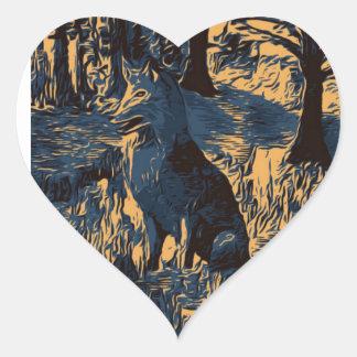 Sticker Cœur Loup