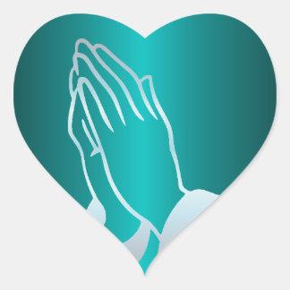 Sticker Cœur Mains de prière nacrées