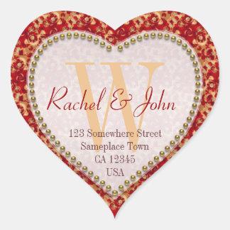 Sticker Cœur Mariage décoré d'un monogramme de coeur de motif