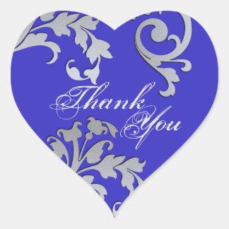 Sticker Cœur Mariage floral bleu et argenté de phoque de Merci