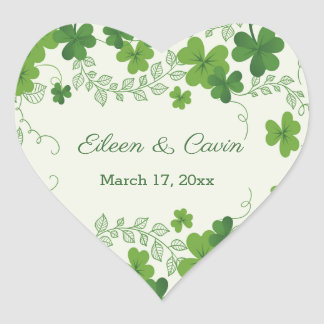 Sticker Cœur Merci irlandais de mariage de shamrock