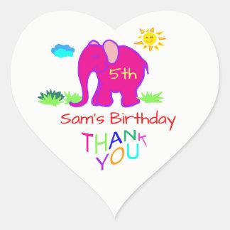 Sticker Cœur Mercis d'anniversaire du nom et de l'âge de